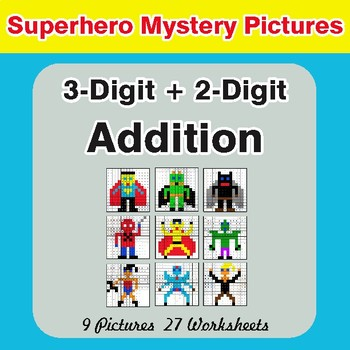 3-Digit + 2-Digit Addition - Color-By-Number Superhero Math Mystery Pictures