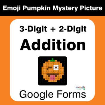 3-Digit + 2-Digit Addition - EMOJI PUMPKIN Mystery Picture - Google Forms