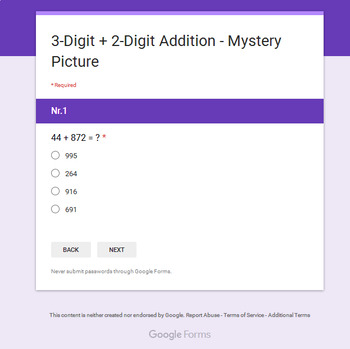 3-Digit + 2-Digit Addition - Superhero Mystery Picture - Google Forms