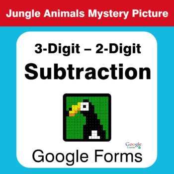 3-Digit - 2-Digit Subtraction - Animals Mystery Picture - Google Forms