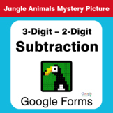 3-Digit - 2-Digit Subtraction - Animals Mystery Picture -