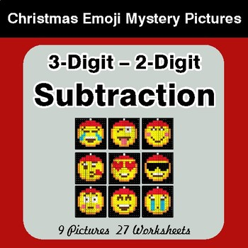 3-Digit - 2-Digit Subtraction - Christmas EMOJI Color-By-Number Math Mystery Pictures