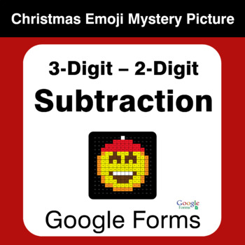3-Digit - 2-Digit Subtraction - Christmas EMOJI Mystery Picture - Google Forms