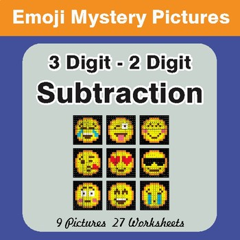 3-Digit - 2-Digit Subtraction Color-By-Number EMOJI Math Mystery Pictures