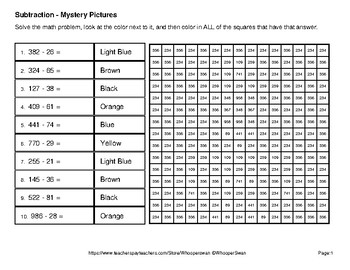 3-Digit - 2-Digit Subtraction - Color-By-Number Math Mystery Pictures