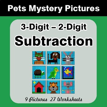 3-Digit - 2-Digit Subtraction - Color-By-Number Math Mystery Pictures - Pets Theme