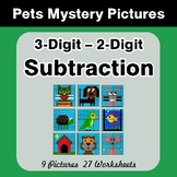 3-Digit - 2-Digit Subtraction - Color-By-Number Mystery Pi