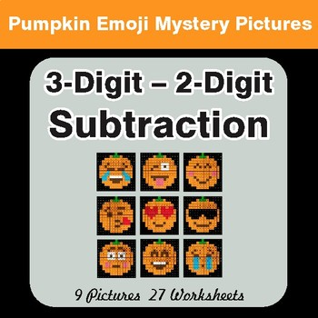 3-Digit - 2-Digit Subtraction - Color-By-Number PUMPKIN EMOJI Math Mystery Pictures