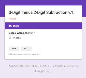 3-Digit - 2-Digit Subtraction - Interactive Digital Task Cards - Google Forms