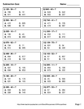 3-Digit - 2-Digit Subtraction Quiz - Test - Assessment - Worksheet