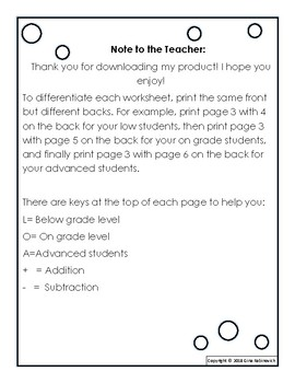 3 Digit Add and Sub Differentiated Worksheets