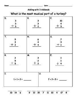 3 Digit Addend Practice (Thanksgiving Theme!)