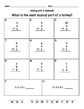 3 Digit Addend Practice (Thanksgiving Theme!)