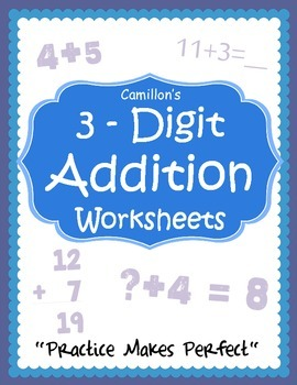 Basic Math Addition Worksheets 3 Digit Numbers Practice Sheets