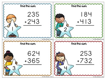 3 Digit Addition Without Regrouping Task Cards