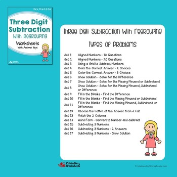 3-Digit Addition And Subtraction With Regrouping Worksheets Bundle