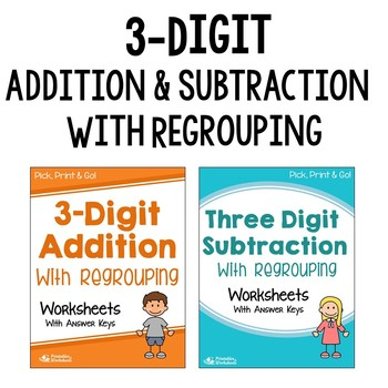Addition And Subtraction With Regrouping Worksheets 3rd Grade Tpt