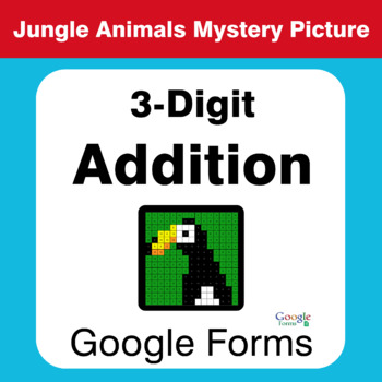 3-Digit Addition - Animals Mystery Picture - Google Forms