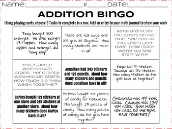 3-Digit Addition BINGO