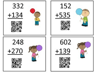 3 Digit Addition Balloons with QR Codes