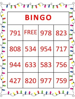 Christmas Style 3 Digit Addition Bingo With Regrouping