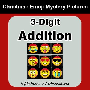 3-Digit Addition - Christmas EMOJI Color-By-Number Mystery Pictures