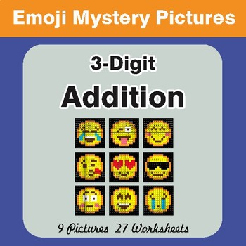 3-Digit Addition Color-By-Number EMOJI Mystery Pictures