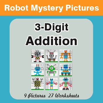 3-Digit Addition - Color-By-Number Mystery Pictures