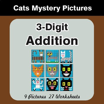 3-Digit Addition - Color-By-Number Math Mystery Pictures