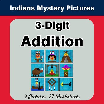 3-Digit Addition - Color-By-Number Mystery Pictures - Indians Theme