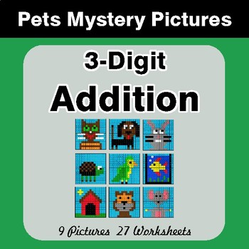 3-Digit Addition - Color-By-Number Mystery Pictures - Pets Theme