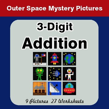 3-Digit Addition - Color-By-Number Mystery Pictures - Space Theme