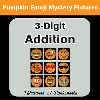 3-Digit Addition - Color-By-Number PUMPKIN EMOJI Mystery Pictures