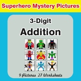 3-Digit Addition - Color-By-Number Superhero Mystery Pictures
