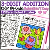 3-Digit Valentine's Day Addition Color by Code with and without regrouping