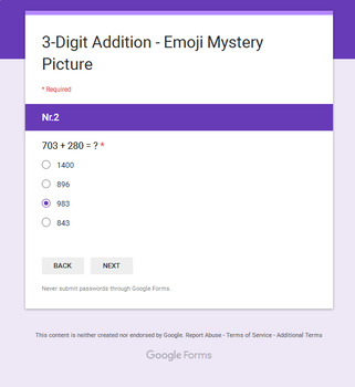 3-Digit Addition - EMOJI Mystery Picture - Google Forms