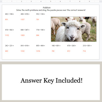 3-Digit Addition - Google Slides - Farm Animal Puzzles