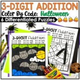 Halloween Three Digit Addition Color by Number with and without regrouping