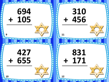 3-Digit Addition Hanukkah Theme Task Cards: 24 Cards: Grades 2-3