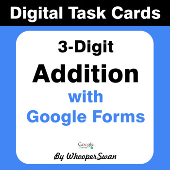 3-Digit Addition - Interactive Digital Task Cards - Google Forms