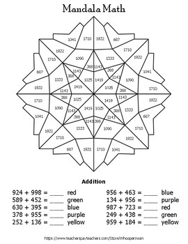 3-Digit Addition Mandala Math Color by Number