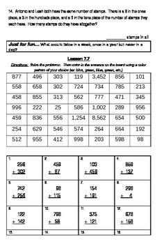 3-Digit Addition Math Journal