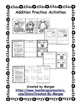 Addition with Regrouping Coloring Pages, Riddles, and QR Code Activities