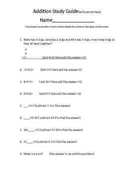 3 Digit Addition, Missing Numbers Study Guide with parent help