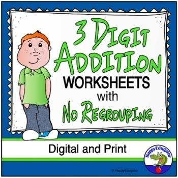 3 Digit Addition Worksheets No Regrouping