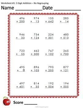 3 digit addition worksheets no regrouping by happyedugator tpt. Black Bedroom Furniture Sets. Home Design Ideas