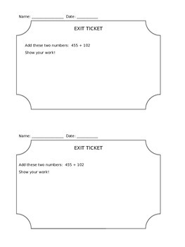 3-Digit Addition No Regrouping Exit Ticket