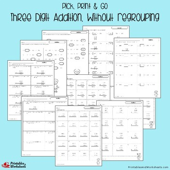 Math 3 Digit Addition No Regrouping Worksheets with Answer Keys