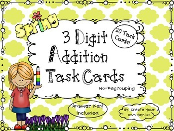 3 Digit Addition- No regrouping Task Cards