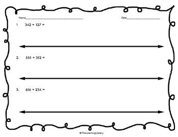 3 Digit Addition - Number Lines